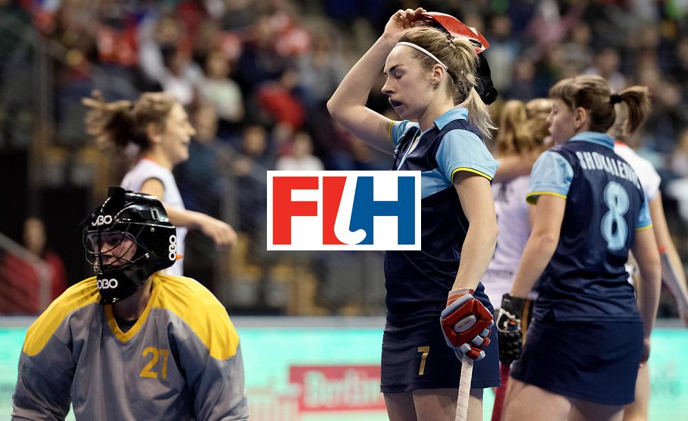 BERLIN - Indoor Hockey World Cup<br /> Women: Ukraine - Germany<br /> foto: PONOMARENKO Oksana dissapointed.<br /> WORLDSPORTPICS COPYRIGHT FRANK UIJLENBROEK