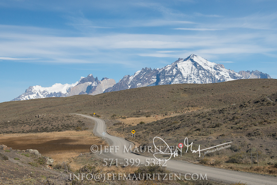Road at the entrance of Torres del Paine National Park, Chile.