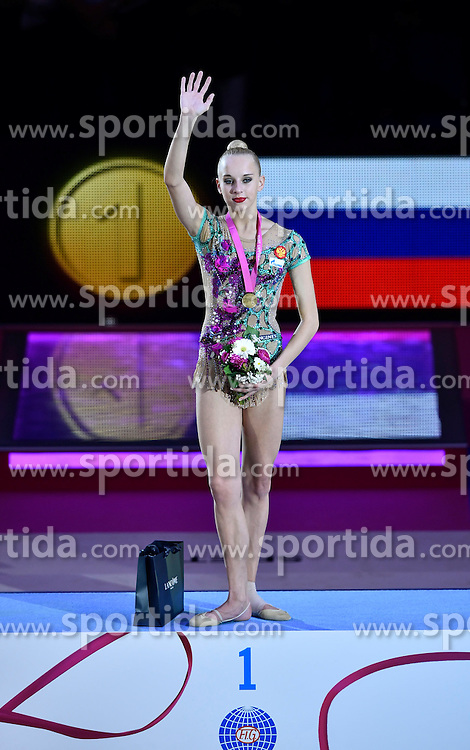 08.09.2015, Porsche Arena, Stuttgart, GER, Gymnastik WM, im Bild Yana Kudryavtseva (RUS) wird Weltmeisterin im Geraetfinale Ball Goldmedaille Gold Siegerehrung // during the World Rhythmic Gymnastics Championships at the Porsche Arena in Stuttgart, Germany on 2015/09/08. EXPA Pictures &copy; 2015, PhotoCredit: EXPA/ Eibner-Pressefoto/ Weber<br /> <br /> *****ATTENTION - OUT of GER*****