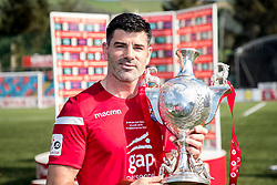 NEWTOWN, WALES - Sunday, May 6, 2018: Double goal scorer Michael Steele with the FAW Welsh Cup following a 4-1 victory in the FAW Welsh Cup Final between Aberystwyth Town and Connahs Quay Nomads at Latham Park. (Pic by Paul Greenwood/Propaganda)