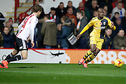 Fulham Forward Sone Aluko attacking the Brentford goal during the EFL Sky Bet Championship match between Brentford and Fulham at Griffin Park, London, England on 4 November 2016. Photo by Jarrod Moore.