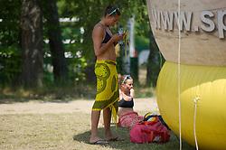 04.07.2013, Lake Szelag, Stare Jablonki, POL, FIVB Beach Volleyball Weltmeisterschaft, im Bild Ilka Semmler (#2 GER) und Katrin Holtwick (#1 GER) enttaeuscht/ traurig nach der Niederlage, // during the FIVB Beach Volleyball World Championships at the Lake Szelag, Stare Jablonki, Poland on 2013/07/04. EXPA Pictures © 2013, PhotoCredit: EXPA/ Eibner/ Kurth ***** ATTENTION - OUT OF GER *****