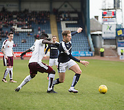Dundee&rsquo;s Greg Stewart wriggles away from Hearts&rsquo; Prince Buaben - Dundee v Hearts - Ladbrokes Premiership at Dens Park <br />  - &copy; David Young - www.davidyoungphoto.co.uk - email: davidyoungphoto@gmail.com