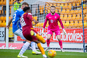 Zander Clark (#1) of St Johnstone FC closes down the angles during the Ladbrokes Scottish Premiership match between St Johnstone and Motherwell at McDiarmid Stadium, Perth, Scotland on 11 May 2019.