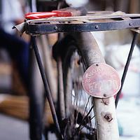 Basket weavers shop, city scene, Old bicycle in city