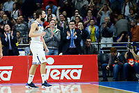 Real Madrid's player Sergio Llull celebrating the victory during match of Turkish Airlines Euroleague at Barclaycard Center in Madrid. November 16, Spain. 2016. (ALTERPHOTOS/BorjaB.Hojas)