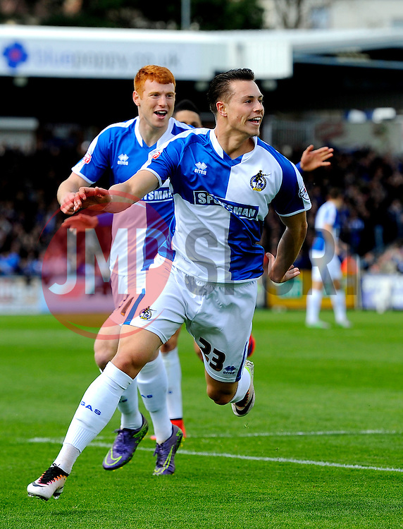 Billy Bodin of Bristol Rovers celebrates with Rory Gaffney of Bristol Rovers  - Mandatory by-line: Joe Meredith/JMP - 23/04/2016 - FOOTBALL - Memorial Stadium - Bristol, England - Bristol Rovers v Exeter City - Sky Bet League Two