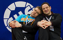Physiotherapists Gorazd Zuzek and Sokol Kadrija during practice session of Slovenia national team 1 day before handball match against Macedonia for 5th place at 10th EHF European Handball Championship Serbia 2012, on January 26, 2012 in Beogradska Arena, Belgrade, Serbia.  (Photo By Vid Ponikvar / Sportida.com)