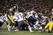 PITTSBURGH - JANUARY 23:  The New England Patriots mount a key goal line stand late in the game against the Pittsburgh Steelers during the AFC Championship at Heinz Field on January 23, 2005 in Pittsburgh, Pennsylvania. The Pats defeated the Steelers 41-27. ©Paul Anthony Spinelli