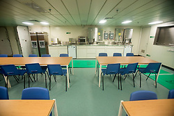 Junior rating dining hall. Tour of the Queen Elizabeth Aircraft Carrier under construction at the Babcock site in Rosyth dockyard.