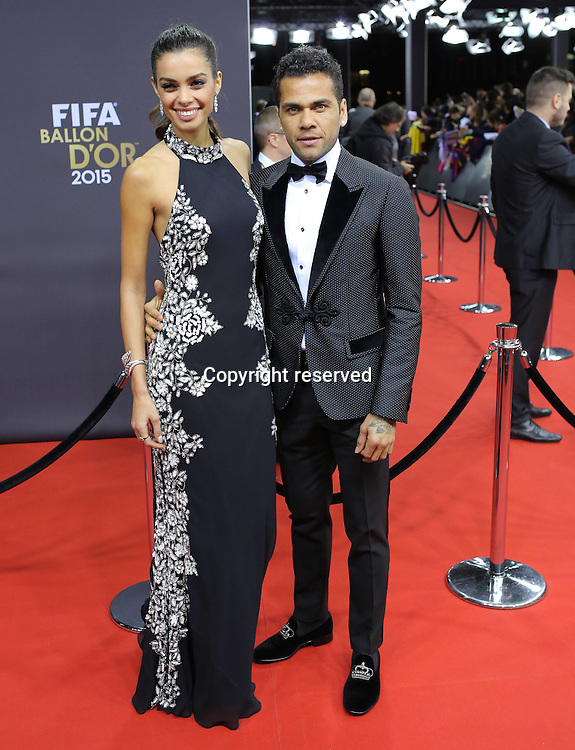 11.01.2016. Zurich, Switzerland. The FIFA Ballon D'Or Awards. Dani ALVES with wife