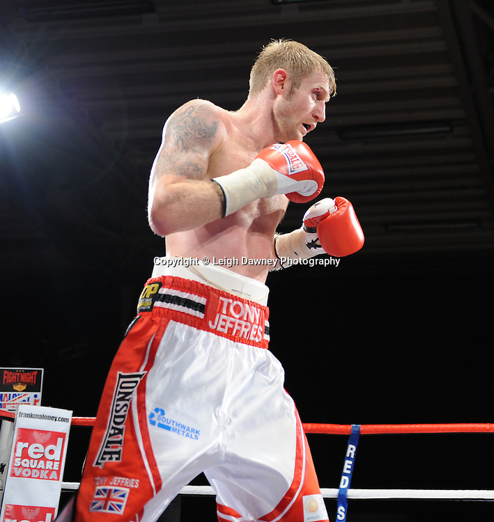 Tony Jeffries (pictured) defeats Paul Morby in a Light Heavyweight contest at the Doncaster Dome, Doncaster, UK, 3rd September 2011. Frank Maloney Promotions. Photo credit: Leigh Dawney 2011