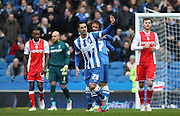 Brighton's Biram Kayal celebrates Brighton's first goal during the Sky Bet Championship match between Brighton and Hove Albion and Birmingham City at the American Express Community Stadium, Brighton and Hove, England on 21 February 2015. Photo by Phil Duncan.