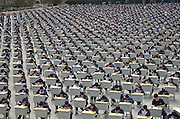 YAN'AN, CHINA - APRIL 11: (CHINA OUT) <br /> <br /> More Than 1,700 Students Take Outdoor Exam<br /> <br /> More Than 1,700 students take outdoor exam at the playground on April 11, 2015 in Yan'an, Shaanxi province of China. Yichuan Middle School held an outdoor exam with more than 1,700 examinees in Yan'an on Saturday.<br /> ©Exclusivepix Media