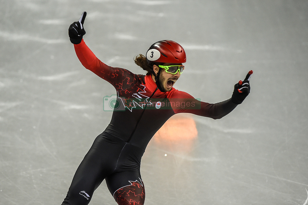 February 17, 2018 - Pyeongchang, Gangwon, South Korea - Samuel Girard of  Canada celebrating his gold medal in 1000 meter speed skating  at Gangneung Ice Arena, Gangneung, South Korea on 17 February 2018. (Credit Image: © Ulrik Pedersen/NurPhoto via ZUMA Press)