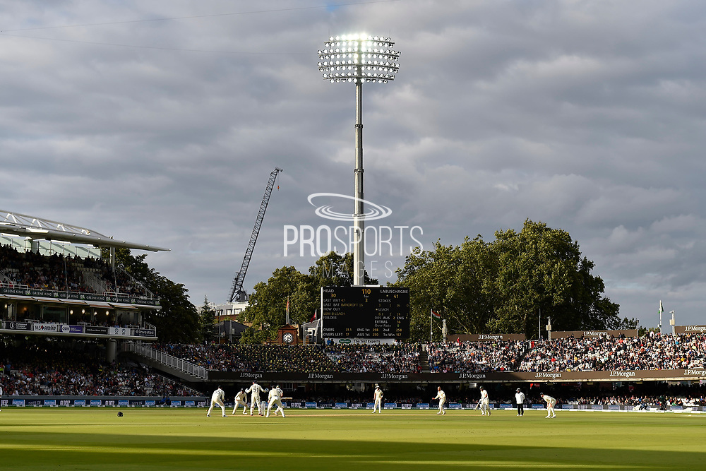 General view of Lords with the floodlights on with England in the field during the International Test Match 2019 match between England and Australia at Lord's Cricket Ground, St John's Wood, United Kingdom on 18 August 2019.