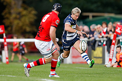 Bristol Rugby Winger Charlie Amesbury chips past London Welsh Number 8 Kieran Murphy - Mandatory byline: Rogan Thomson/JMP - 07966 386802 - 13/09/2015 - RUGBY UNION - Old Deer Park - Richmond, London, England - London Welsh v Bristol Rugby - Greene King IPA Championship.