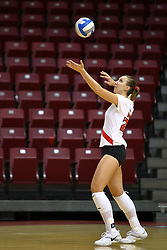 18 AUG 2007: Kari Staehlin serving. The Illinois State Redbirds, picked for 5th in the pre-season Missouri Valley Conference coaches poll, prepare for the beginning of the season during the annual Red/White inter-squad scrimmage at Redbird Arena in Normal Illinois.