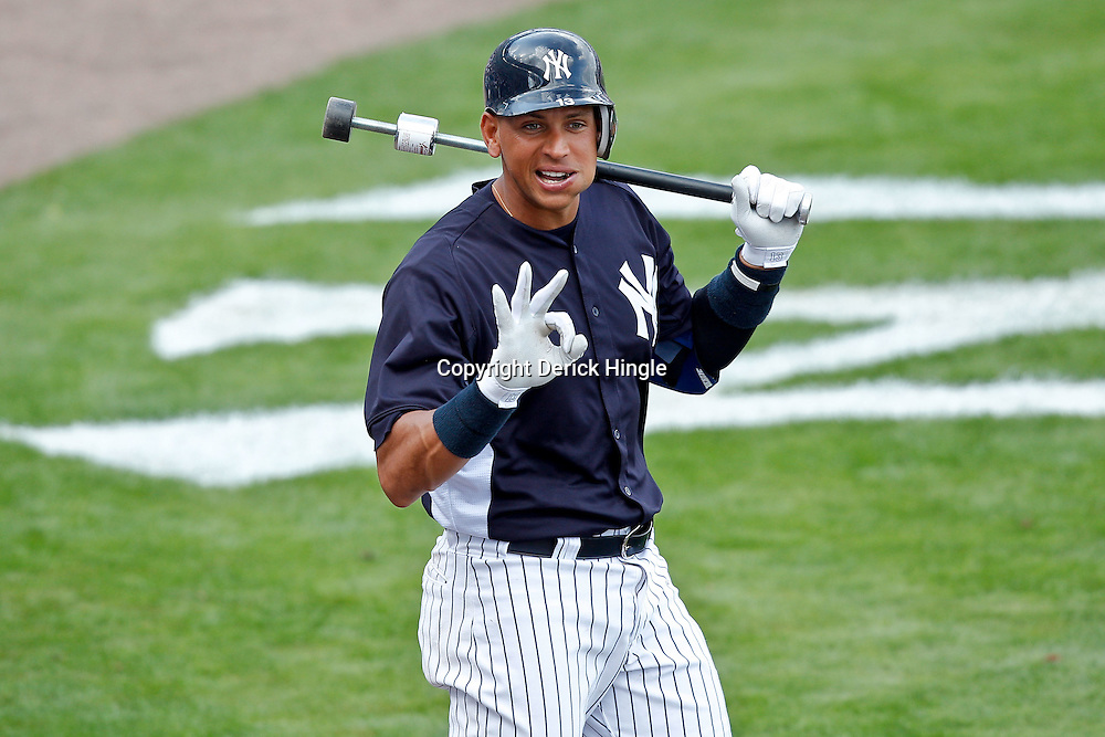 March 2, 2011; Tampa, FL, USA; New York Yankees third baseman Alex Rodriguez (13) during a spring training exhibition game against the Houston Astros at George M. Steinbrenner Field.  Mandatory Credit: Derick E. Hingle