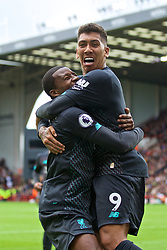 SHEFFIELD, ENGLAND - Thursday, September 26, 2019: Liverpool's Georginio Wijnaldum (L) celebrates scoring the only goal of the game with team-mate Roberto Firmino during the FA Premier League match between Sheffield United FC and Liverpool FC at Bramall Lane. Liverpool won 1-0. (Pic by David Rawcliffe/Propaganda)