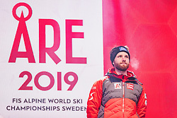 11.02.2019, Aare, SWE, FIS Weltmeisterschaften Ski Alpin, alpine Kombination, Herren, Siegerehrung, im Bild Bronzemedaillengewinner Marco Schwarz (AUT) // Bronze medalist Marco Schwarz of Austria during the winner ceremony of the men's alpine combination for the FIS Ski World Championships 2019. Aare, Sweden on 2019/02/11. EXPA Pictures © 2019, PhotoCredit: EXPA/ Dominik Angerer