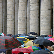 Crowds standing in line in Piazza S. Pietro waiting to enter St. Peter's Basilica, Rome, Italy
