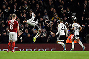 Denis Odoi (4) of Fulham celebrates with a backflip but his goal is ruled out for offside during the EFL Sky Bet Championship match between Fulham and Middlesbrough at Craven Cottage, London, England on 17 January 2020.