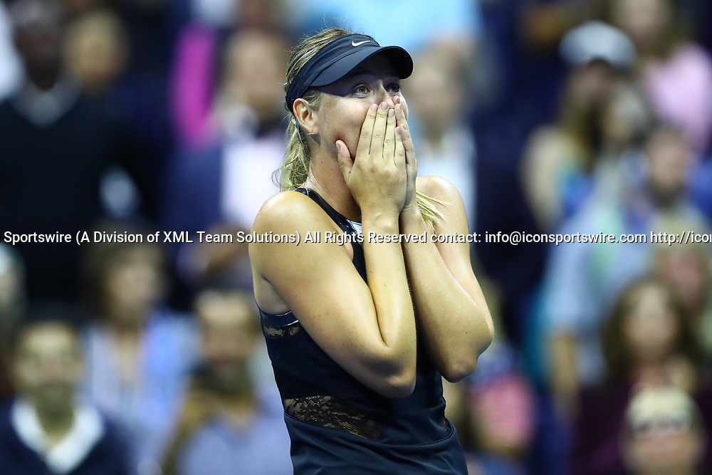 FLUSHING MEADOW, NY - AUGUST 28: MARIA SHARAPOVA (RUS) during day one match of the 2017 US Open on August 28, 2017 at Billie Jean King National Tennis Center, Flushing Meadow, NY.(Photo by Chaz Niell/Icon Sportswire)