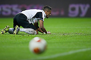 Legia's Dossa Junior reacts after his missed shoot during the UEFA Europa League Group J football match between Legia Warsaw and Trabzonspor AS at Pepsi Arena Stadium in Warsaw on November 07, 2013.<br /> <br /> Poland, Warsaw, November 07, 2013<br /> <br /> Picture also available in RAW (NEF) or TIFF format on special request.<br /> <br /> For editorial use only. Any commercial or promotional use requires permission.<br /> <br /> Mandatory credit:<br /> Photo by © Adam Nurkiewicz / Mediasport