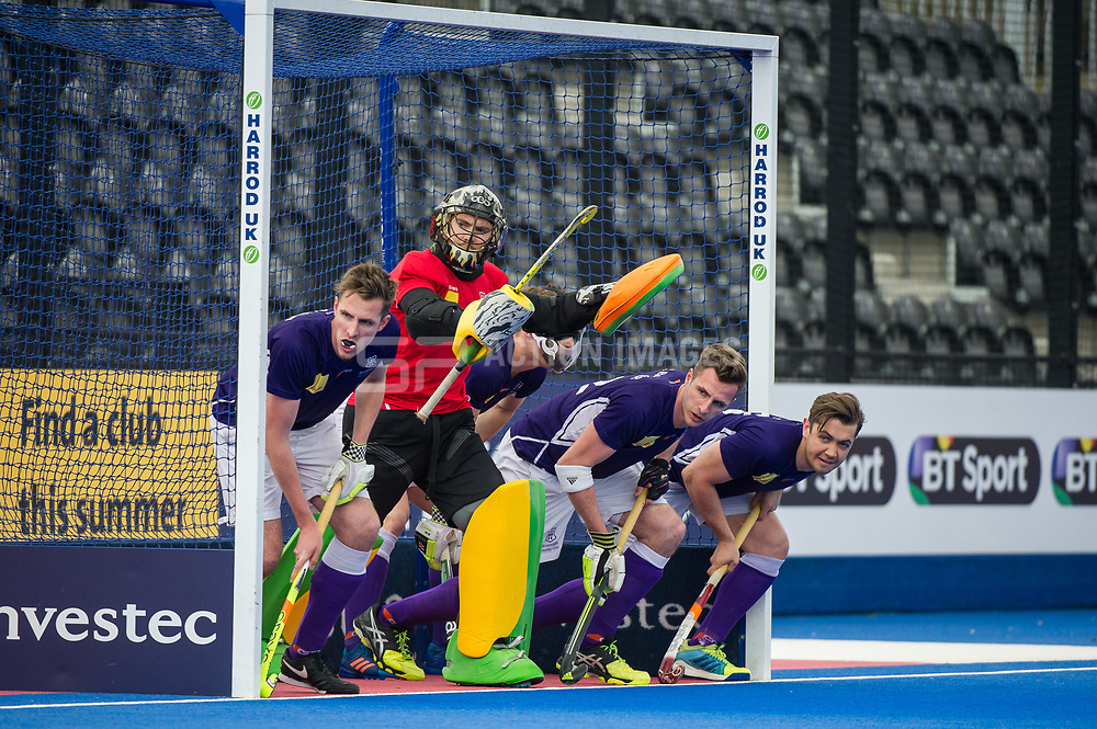 Sevenoaks prepare to defend a penalty corner. Canterbury v Sevenoaks - Men's Hockey League Finals, Lee Valley Hockey & Tennis Centre, London, UK on 23 April 2017. Photo: Simon Parker