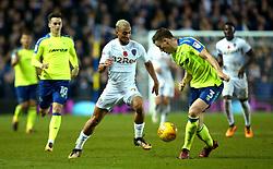 Kemar Roofe of Leeds United takes on Craig Forsyth of Derby County - Mandatory by-line: Robbie Stephenson/JMP - 31/10/2017 - FOOTBALL - Elland Road - Leeds, England - Leeds United v Derby County - Sky Bet Championship