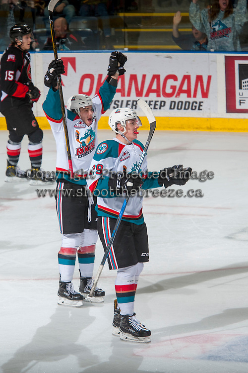 KELOWNA, CANADA - FEBRUARY 18: Rodney Southam #17 and Nolan Foote #29 of the Kelowna Rockets celebrate a goal against the Prince George Cougars on February 18, 2017 at Prospera Place in Kelowna, British Columbia, Canada.  (Photo by Marissa Baecker/Shoot the Breeze)  *** Local Caption ***