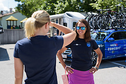 Carmen Small chats to Lepisto before Stage 2 of the Giro Rosa - a 122.2 km road race, between Zoppola and Montereale Valcellina on July 1, 2017, in Pordenone, Italy. (Photo by Sean Robinson/Velofocus.com)