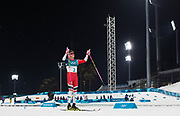 PYEONGCHANG-GUN, SOUTH KOREA - FEBRUARY 13: Johannes Hoesflot Klaebo of Norway celebrates after the victory during the Mens Individual Sprint Classic Finals on day four of the PyeongChang 2018 Winter Olympic Games at Alpensia Cross-Country Skiing Centre on February 13, 2018 in Pyeongchang-gun, South Korea. Photo by Nils Petter Nilsson/Ombrello               ***BETALBILD***