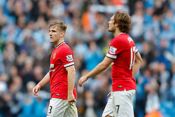 Luke Shaw of Manchester United looks dejected after Manchester City win the game 1-0 - Photo mandatory by-line: Rogan Thomson/JMP - 07966 386802 - 02/11/2014 - SPORT - FOOTBALL - Manchester, England - Etihad Stadium - Manchester City v Manchester United - Barclays Premier League.