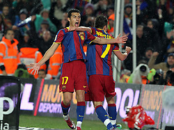 29.11.2010, Camp Nou, Barcelona, ESP, Primera Division, FC Barcelona vs Real Madrid, im Bild Barcelona's Pedro Rodriguez and David Villa cellebrating goal  during la liga match on november 29th 2010. EXPA Pictures © 2010, PhotoCredit: EXPA/ Alterphotos/ Gregorio +++++ ATTENTION - OUT OF SPAIN / ESP +++++