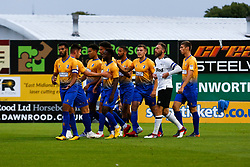 Mansfield Town players celebrate the opening goal against Derby County - Mandatory by-line: Ryan Crockett/JMP - 18/07/2018 - FOOTBALL - One Call Stadium - Mansfield, England - Mansfield Town v Derby County - Pre-season friendly