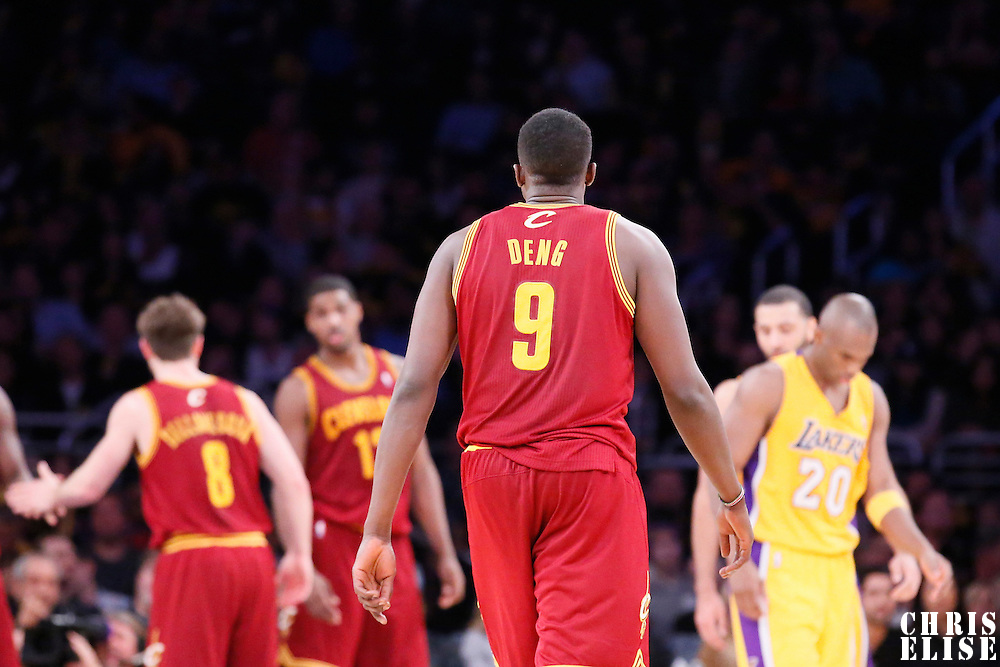 14 January 2014: Cleveland Cavaliers small forward Luol Deng (9) is seen during the Cleveland Cavaliers 120-118 victory over the Los Angeles Lakers at the Staples Center, Los Angeles, California, USA.