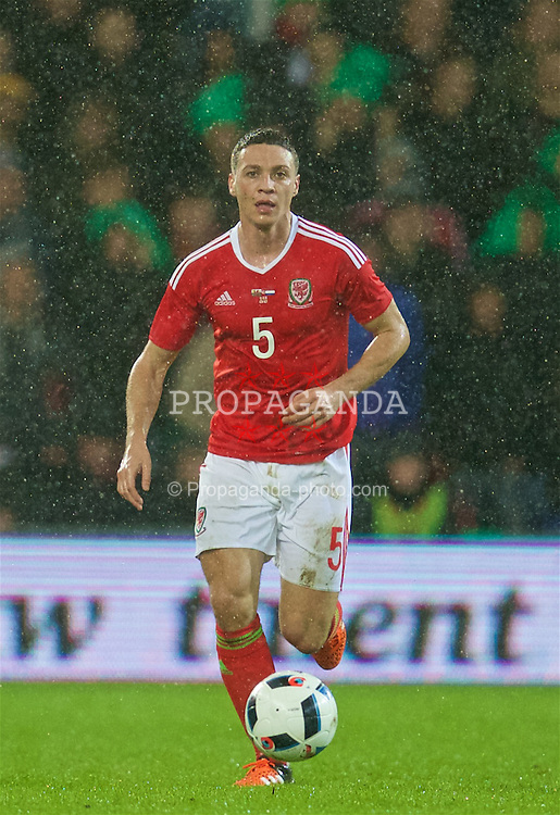 CARDIFF, WALES - Friday, November 13, 2015: Wales' James Chester in action against the Netherlands during the International Friendly match at the Cardiff City Stadium. (Pic by David Rawcliffe/Propaganda)