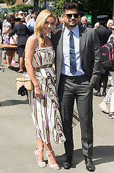 © Licensed to London News Pictures. 01/07/2019. London, UK. Katherine Jenkins and husband Andrew Levitas arrive to attend the first day of th Wimbledon Tennis Championships 2019 held at the All England Lawn Tennis and Croquet Club. Photo credit: Ray Tang/LNP