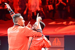 September 21, 2018 - Chicago, Illinois, United States - Nick Kyrgios and Frances Tiafoe of the the World Team in the opening ceremony of the 2018 Laver Cup tennis event in Chicago. (Credit Image: © Christopher Levy/ZUMA Wire)