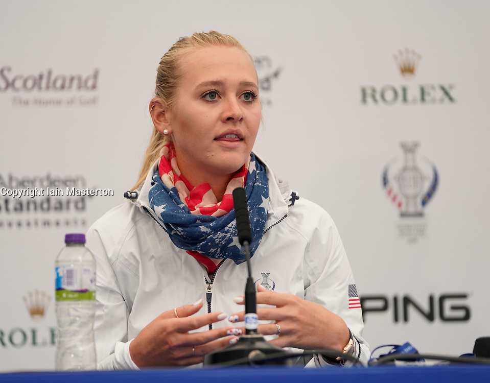 Auchterarder, Scotland, UK. 12 September 2019. Press conference with Team USA players, sisters Jessica and Nelly Korda at the 2019 Solheim Cup. Pictured; Jessica Korda. Iain Masterton/Alamy Live News