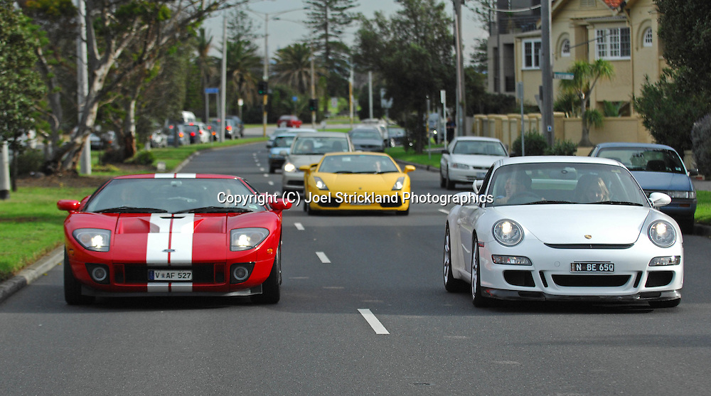 2005 Ford GT (Red / White) .2007 Porsche 997 GT3 (Carrera White) .2005 Lamborghini Gallardo (Giallo Midas) .Corporate Drive Day with Octane Events & The Supercar Club.Mornington Pennisula, Victoria .6th-7th of August 2009 .(C) Joel Strickland Photographics