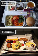 Airline Food: Economy Vs. First Class <br /> <br /> What used to be a woman's size 12 in 1968 is a woman's size 4 today; what used to be third-class is economy-class today. What changed? We've grown more sensitive: I'm not overweight, I still fit into a size 12. I'm not a third-class passenger, I'm a price conscious individual that rides in economy-class.<br /> Despite the name games, airline food hasn't changed much. Economy class meals still come in a wrapper, and business or first-class meals come with real cutlery. This list shows the sometimes striking difference between what the different classes eat.<br /> <br /> Photo shows: Lufthansa<br /> ©Exclusivepix Media