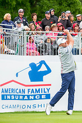 June 22, 2018 - Madison, WI, U.S. - MADISON, WI - JUNE 22: Steve Stricker tees off on the first tee during the American Family Insurance Championship Champions Tour golf tournament on June 22, 2018 at University Ridge Golf Course in Madison, WI. (Photo by Lawrence Iles/Icon Sportswire) (Credit Image: © Lawrence Iles/Icon SMI via ZUMA Press)