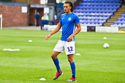 Macclesfield Town defender Miles Welch-Hayes warming up before the EFL Sky Bet League 2 match between Macclesfield Town and Morecambe at Moss Rose, Macclesfield, United Kingdom on 20 August 2019.