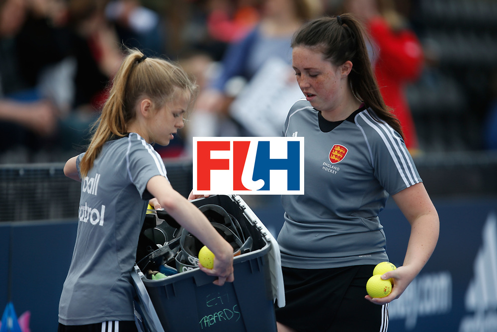 LONDON, ENGLAND - JUNE 18: Ball girls  during the FIH Women's Hockey Champions Trophy 2016 match between United States and Australia at Queen Elizabeth Olympic Park on June 18, 2016 in London, England.  (Photo by Joel Ford/Getty Images)