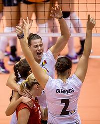 23-08-2017 NED: World Qualifications Belgium - Netherlands, Rotterdam<br /> De Nederlandse volleybalsters hebben op het WK-kwalificatietoernooi ook hun tweede duel in winst omgezet. Oranje overklaste Belgi&euml; en won met 3-0 (25-18, 25-18, 25-22). Eerder werd Griekenland ook al met 3-0 verslagen / Freya Aelbrecht #9 of Belgium