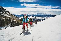 Day 1 - Averill Doering, Mark Kogelmann, Dan Zokiates, Zak Ricklefs, and Ryan Riggins skin toward the Last Dollar Hut, one of the San Juan Huts, San Juan Mountains, Colorado.