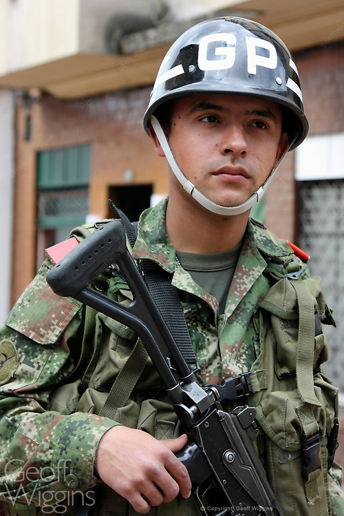 Heavily armed soldier from the Colombian Presidential Guard on security duty in Bogota, Colombia
